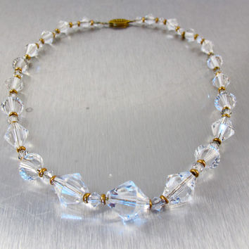 Art Deco Rock Crystal Necklace Choker, Bicone Rock Crystal Faceted Beads, Vintage Bridal Wedding Necklace, 1920s Rock Crystal Jewelry