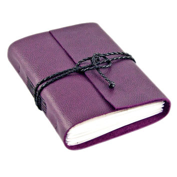 Purple Leather Journal with Blank Paper - Ready to Ship - Travel Journal -