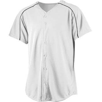 Augusta 583Wicking Button Front Baseball Jersey-Youth - White Black