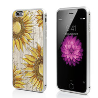 sunflower Aluminium iPhone 6s Case,iPhone 6 Case,Aluminium iPhone 6S Plus Case,wood sunflower iPhone 5s Case