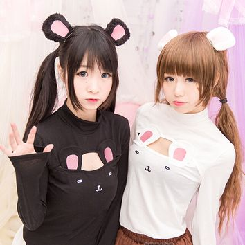 Lolita kawaii hollow chest cartoon t-shirt