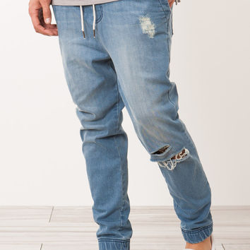 Distressed Denim Jean Jogger Pant