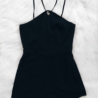 Yasmin Diamond Top Romper (Black)