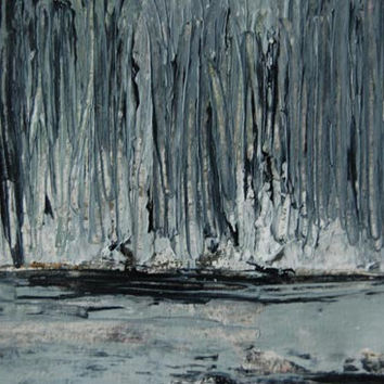 Original Acrylic Abstract Palette Knife Painting Muted Colors Black and White Snow Through the Trees