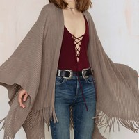 Shawl it a Day Fringe Poncho - Gray