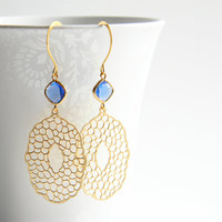 Matte Gold Filigree Pendant Dangle Earrings with Cobalt Blue Faceted Glass Drops