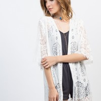 Floral Cut Outs Cardigan
