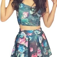 Pink Queen® Womens Sexy Floral Crop Tank Tops and Pleated Skater Skirts Set