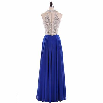 O Neck A Line Long Prom Dresses Chiffon Sleeveless Beading Floor Length Prom Dresses