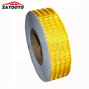 5cm*45M Yellow with Lattice Reflective Caution Safety Warning Conspicuity Tape Film Roll Strip self adhesive Warning Sticker