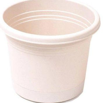 "Southern Patio RR0424OT Rolled Rim Planter w/ Attached Saucer, 4.5"", Oxford Tan"