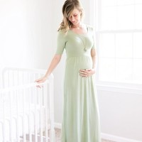 Sage 3/4 Sleeve Maternity Maxi Dress