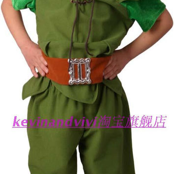 Peter Pan and Tinker Bell Vestido Cosplay clothing costume with shoe covers Bola for boys custom for party
