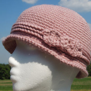 Pink Cloche Crochet Hat Flapper Style with by KeepItUnderYourHat