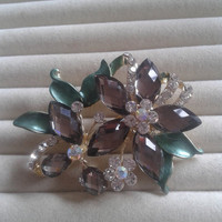 green and grey crystal flower rhinestone goldtone  brooch  pin