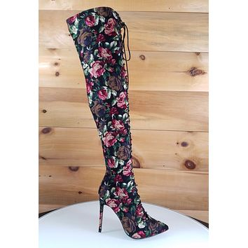 "So Me Amara Lace Up High Heel Knee Boots 4"" Stiletto Black Floral Corduroy"