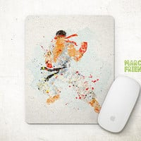 Street Fighter Mouse Pad, Ryu Watercolor Art, Mousepad, Office Deco, Gifts, Art Print, Games, Desk Decor, Street Fighter Accessories