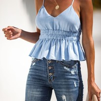 More Days Off Babydoll Crop Top - Chambray