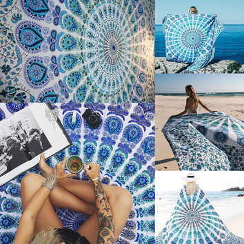 ‰÷Û Happiness is a day at the Beach ‰÷ÛBohemia Geometric Tapestry Beach Table Cloth Decorative Wall Carpet Tapestries