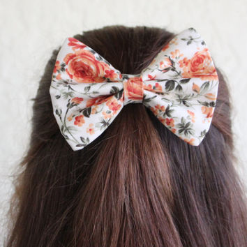 Hair Bow Vintage Inspired 1920s Orange Floral Hair Bow Clip Rockabilly Pin up Teen Woman Alligator Clip, French Barrette