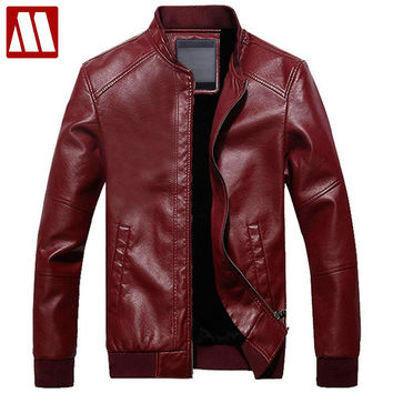 New Arrival Autumn & Winter Fashion Men's Leather Jacket With Fur Inside Solid Warm Windbreaker Jacket