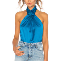 by the way. Amerie Pleated Halter Top in Blue