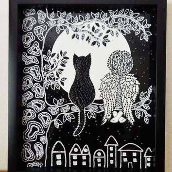 Cat & Angel art Glass painting Black and white decor Wall decor
