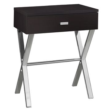 """Accent Table - 24""""H / Cappuccino / Chrome Metal"""