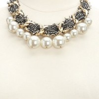 Oversized Pearl & Tweed Statement Necklace by Charlotte Russe - Gold
