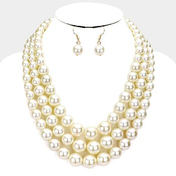 Triple Strand Pearl Chunky Necklace