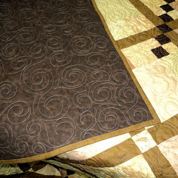 Quilt Diamonds in the Sand Quilted Throw Gold and Brown Quilt Lap Quilt Quilted Wall Hanging