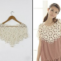 Trendy Elegant Openwork Apricot Cape For Women