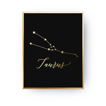 Taurus Constellation, Real Gold Foil Print, Zodiac Print, Taurus Print, Zodiac Sign, Taurus Zodiac Poster, Zodiac Constellation, Home Decor