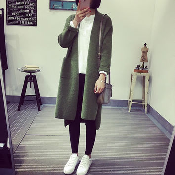Extra Long Petite Loose Style Korean Knit Cardigan Sweater
