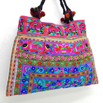 Thai Hill Tribe Bag Pom Pom Hmong Embroidered Ethnic Purse Woven Bag Hippie Bag Hobo Bag Boho Bag Shoulder Bag: Blue Green Pink