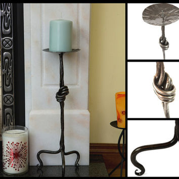 Iron Candle Holder Hand Forged Candle Holder Candlestick Holder Home Decor Handcrafted Candle Holder Blacksmith Unique Candlestick Holder