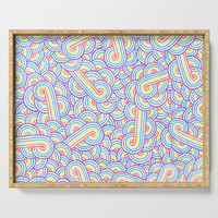 Rainbow and white swirls doodles Serving Tray by savousepate
