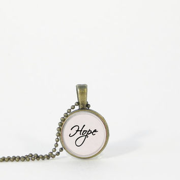 "Little ""Hope"" Word Pendant Petite Small Layering Necklace Inspiration Encouragement Gift Jewelry"