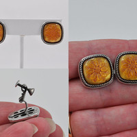 ON SALE Vintage Napier Silver & Molded Glass Flower Earrings, Amber Glass, Screw Back Clip Combo, Floral, Rope, Delightfully Unique!  #b484