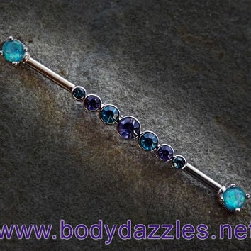 Purple and Teal Rhinestone Industrial Barbell Green Opal Ends 14ga Surgical Stainless Steel Body Jewelry Scaffold Bar