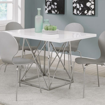 "Grey Bentwood / Chrome Metal 34""H Dining Chairs / 4Pcs"