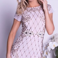 CAVANA DRESS IN WHITE WITH GOLD