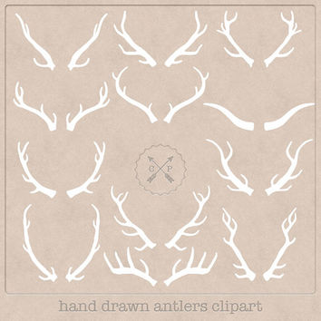 Hand Drawn Antlers Clipart (A set of 12). White, so perfect to use on a chalkboard texture or make logos from this wildlife clipart.
