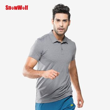 SNOWWOLF Outdoor Quick Dry UV Protection Polo T-Shirt Breathable Stretch Men Sport Shirt Running Camping Climbing Hiking