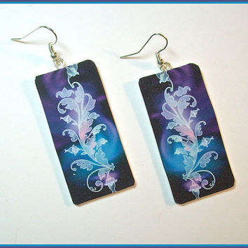 "Digital Art Earrings 1"" W x 2"" L Polymer Clay Lavender Black Blue Image Transfer  Design Handcrafted Dangle"