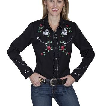 Scully Western Shirt Womens Long Sleeve Embroidered Button PL-771