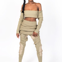 KNIT COLLECTION TAN JOGGER