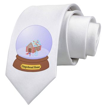 Little Gingerbread House Snow Globe Printed White Neck Tie by TooLoud