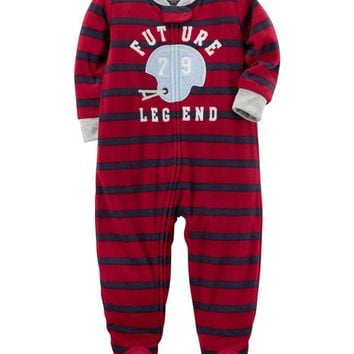 1-Piece Football Fleece PJs