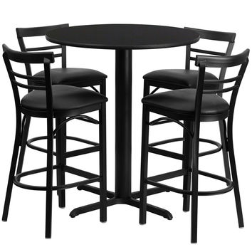 24'' Round Black Laminate Table Set with Ladder Back Metal Bar Stool and Black Vinyl Seat, Seats 4